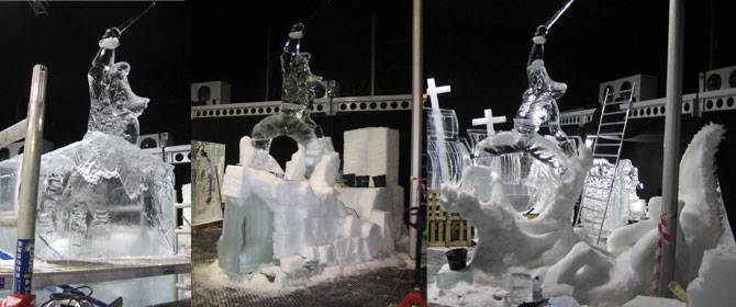 snow and icesculpture Captain Hook